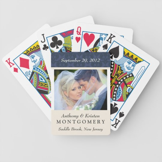 Wedding Photo Damask Personalized Playing Cards