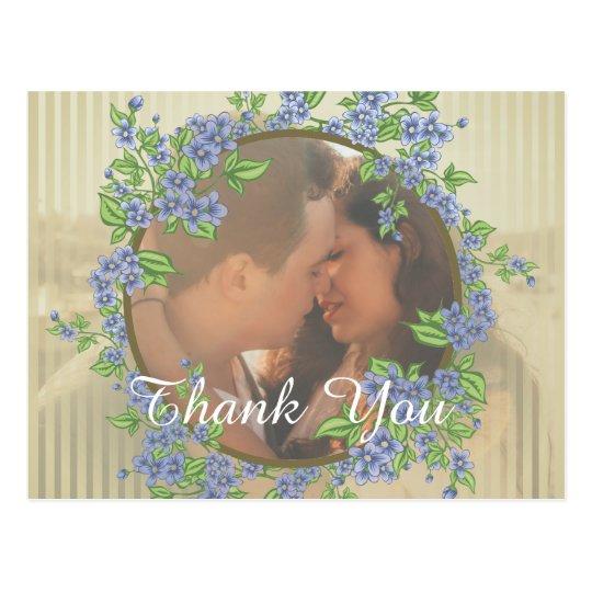 Wedding Photo Flower Frame Thank You Postcard