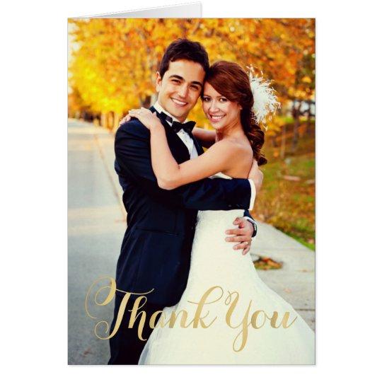 Wedding Photo   Gold Script Thank You Card