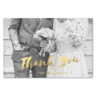 Wedding Photo Gold Thank You Tissue Paper