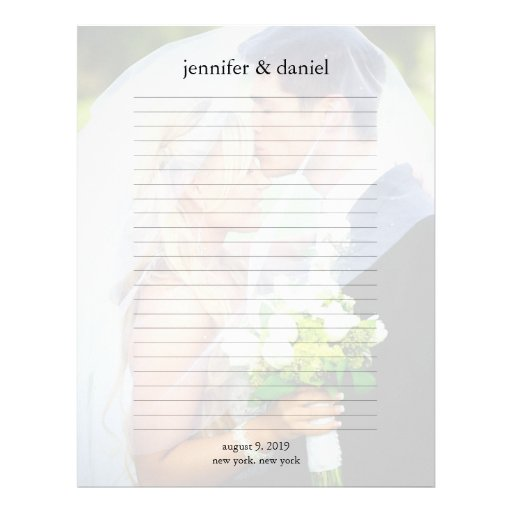 Wedding Photo Guest Book Lined Pages Letterhead Template