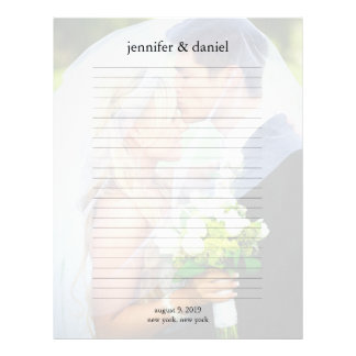 Wedding Photo Guest Book Lined Pages Letterhead Design