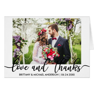 Wedding Photo Love and Thanks Folded Card