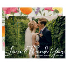 Wedding Photo Love & ThankYou Watercolor Flowers Card