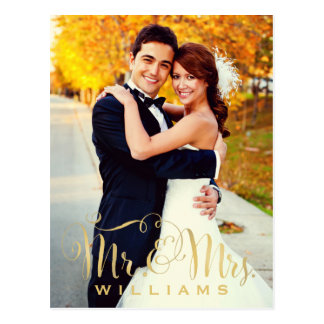 Wedding Photo Note Cards | Gold Mr. & Mrs. Script Postcard