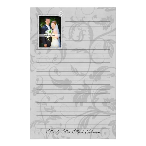 Wedding Photo Personalized Lined Stationery