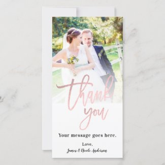 Wedding Photo Picture Thank You Rose Gold Pink