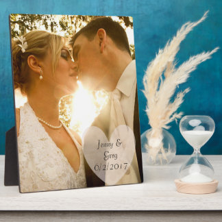 Wedding Photo Plaque with Heart & Wedding Date