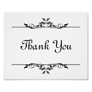 Wedding photo prop sign Thank You elegant scroll Poster