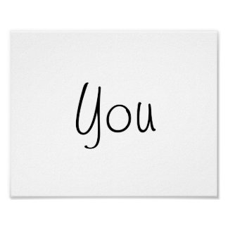 "Wedding photo prop sign ""You"" of ""Thank You"" Poster"
