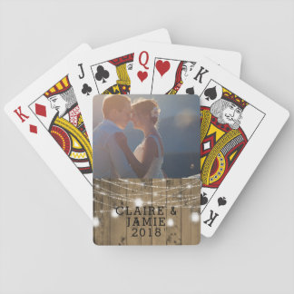 Wedding Photo Rustic Wood Mason Jar Lights Playing Cards