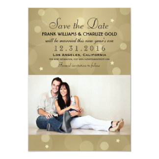 Wedding Photo Save the Date | Champagne Gold 5x7 Paper Invitation Card