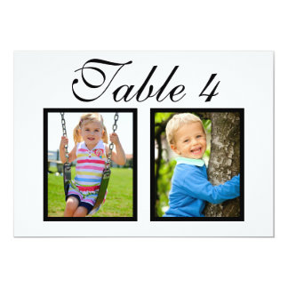 Wedding Photo Table Number Cards | Elegant Black