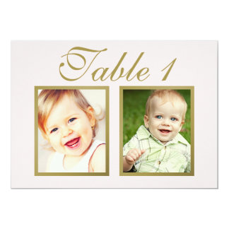 Wedding Photo Table Number Cards | Elegant Gold