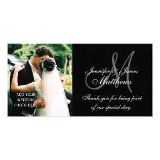 Wedding Photo Thank You Cards with Monogram Black