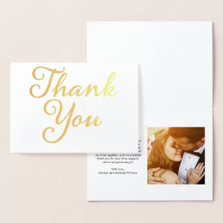 Wedding Photo Thank You Gold Foil Card