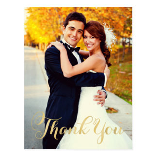 Wedding Photo Thank You | Gold Script Postcard
