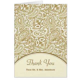 Wedding Photo Thank You Luxury Gold Ivory Paisley Card