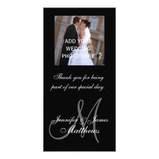 Wedding Photo Thank You Message Monogram Names Card