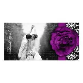 Wedding Photocard Purple Rose Damask Black White Photo Greeting Card