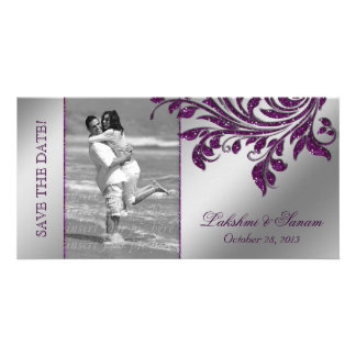 Wedding Photocard Save the Date Leaf Purple Silver Picture Card