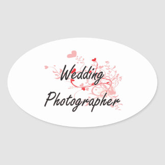Wedding Photographer Artistic Job Design with Hear Oval Sticker