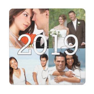 Wedding Photos and Custom Text Graduation Puzzle Coaster