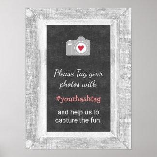 Wedding Photos Instagram Social Media Hashtag Sign