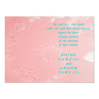 Wedding - Pink Abstract Flowers Personalized Invitation