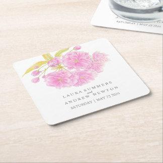 Wedding pink cherry blossom custom paper coasters