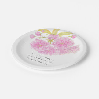 Wedding pink cherry blossom custom paper plate 7 inch paper plate