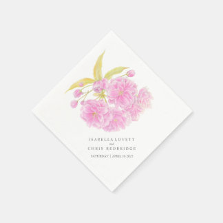 Wedding pink cherry blossom paper napkin