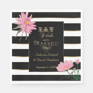 Wedding Pink Floral Bold Black and White Stripes Disposable Napkin