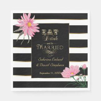 Wedding Pink Floral Bold Black and White Stripes Napkin