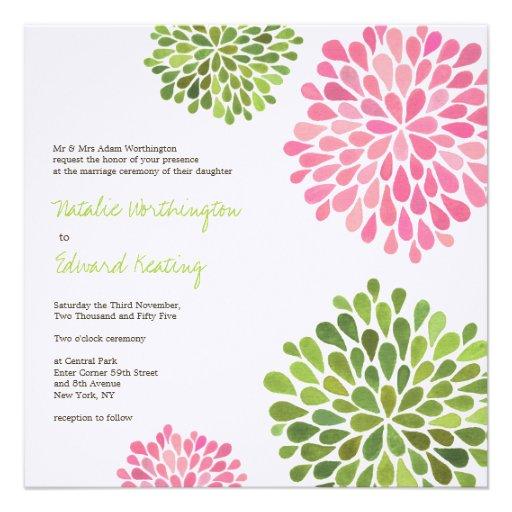 Wedding Pink & Green Flower Blooms Invitation