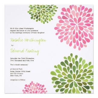 Wedding Pink Green Flower Blooms Invitation