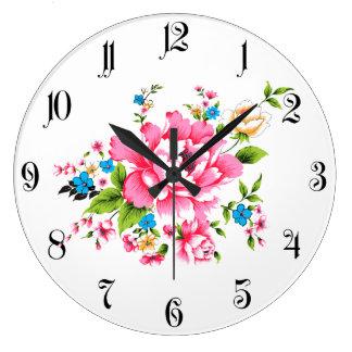 Wedding Pink Peony bunch of flowers Large Clock