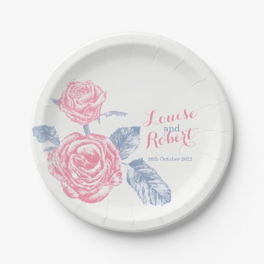 Wedding pink rose inked art custom paper plates 7 inch paper plate