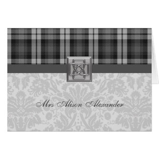 Wedding Placecard Grey Watch Tartan & Damask Card