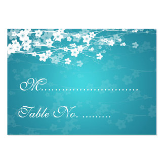 Wedding Placecards Cherry Blossom Blue Business Card Template
