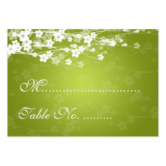 Wedding Placecards Cherry Blossom Lime Green Business Card Template