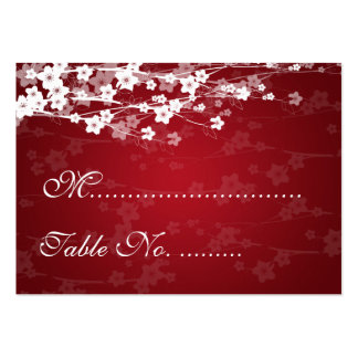 Wedding Placecards Cherry Blossom Red Business Card Template
