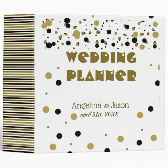 Wedding Planer Golden Black Dots Stripes Modern Vinyl Binders