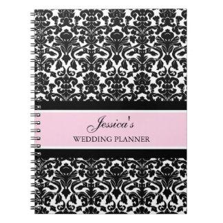 Wedding Planner Custom Name Pink Black Notebook
