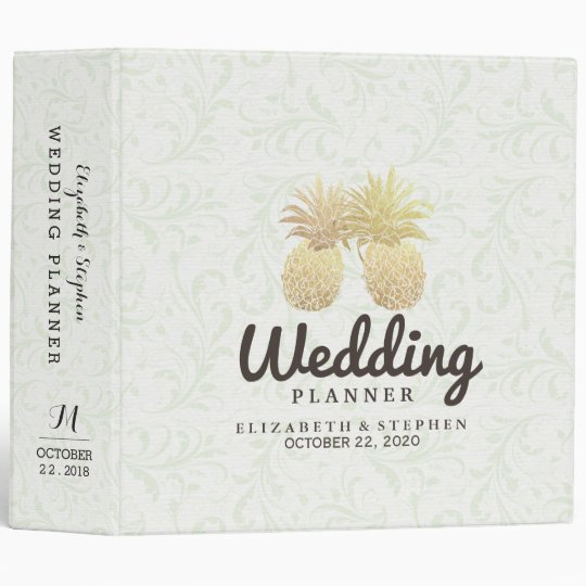 Wedding Planner Gold Foil Pineapples Damask Paper 3 Ring Binder