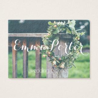 wedding planner green wreath business card