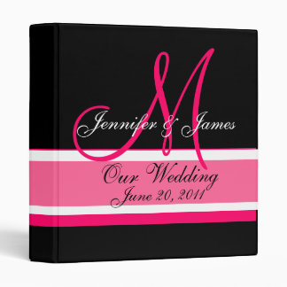 Wedding Planner Monogram Date & Names Pink Black Binders
