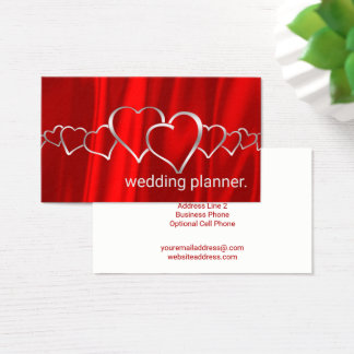 Wedding Planner Red Satin Silver Glamour Hearts Business Card