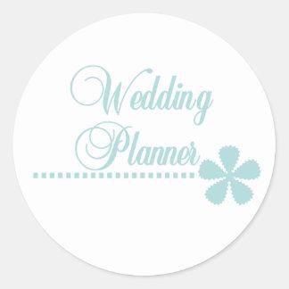 Wedding Planner Teal Elegance Classic Round Sticker