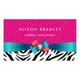 Wedding Planner - Trendy Pink Zebra Print Business Card